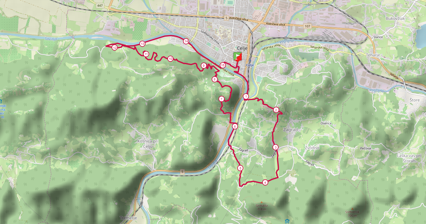 15 km course
